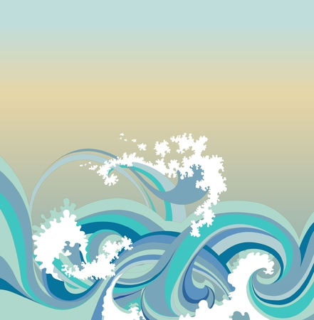 abstract background with sea waves Vector