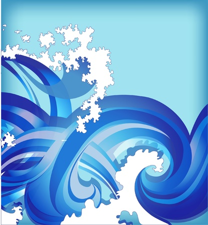 abstract background with sea waves Ilustrace