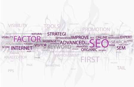 Words in a wordcloud related to SEO - search optimization concept Vettoriali