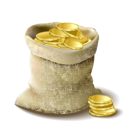 stock illustration: bag with golden money