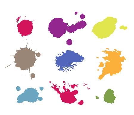 fleck: Grunge pintura salpica gotas y salpicaduras Vectores