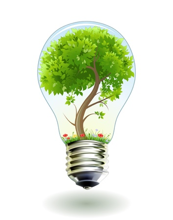 energy conservation: Green tree in lamp. Vector illustration. 8eps Illustration