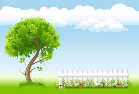 summer garden with tree,  flower and light railing Illustration