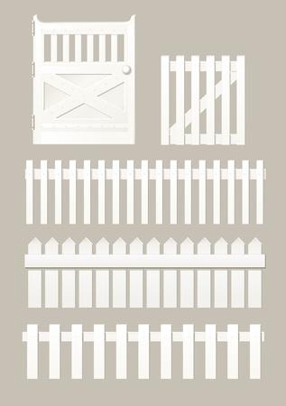 cerca blanca: elementos de las vallas y portillos Vectores