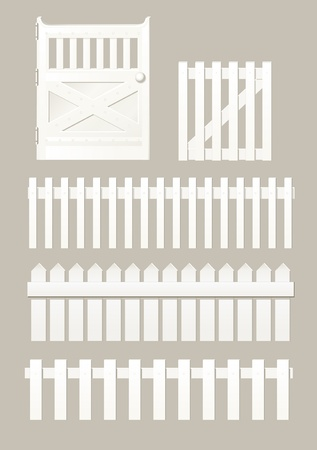 elements of the fences and wickets Vector