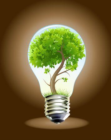 photosynthesis: Green tree in lamp. Vector illustration. 8eps Illustration