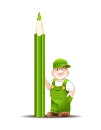 de dibujos animados de los trabajadores en overoles, mantiene lápiz Foto de archivo - 11557859