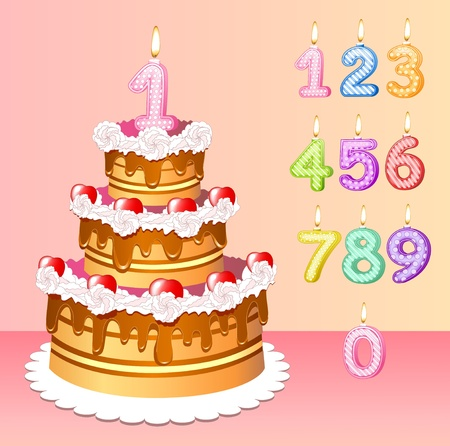 number candles: high festive cake birthday with one candle in form of the unit