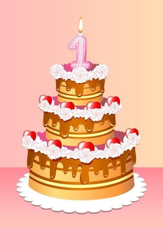 high festive cake birthday with one candle in form of the unit Stock Vector - 11844593