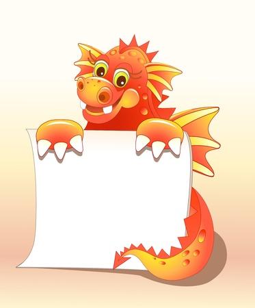 Red dragon illustration of Cute Cartoon Vettoriali