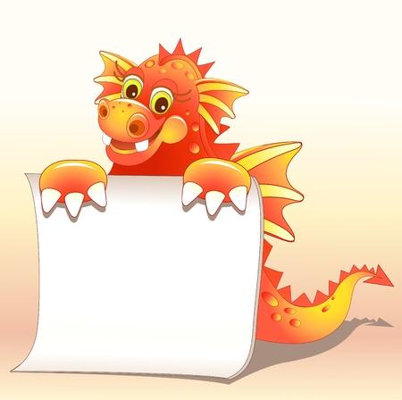 Red dragon illustration of Cute Cartoon Vector