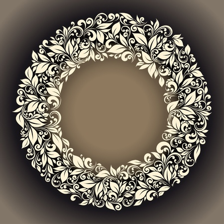 round frame from floral pattern in vintage style Vector