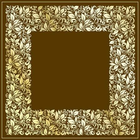 square frame from floral pattern in vintage style Vector