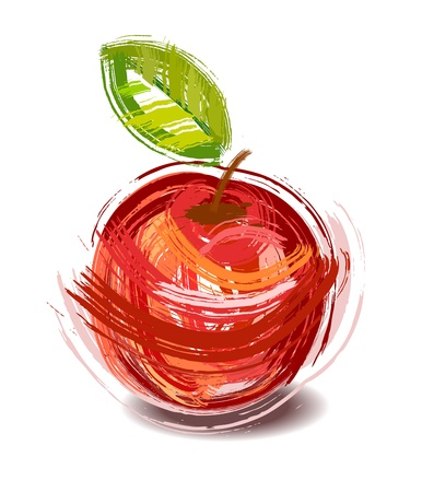 drawing red apple with green sheet - sketch