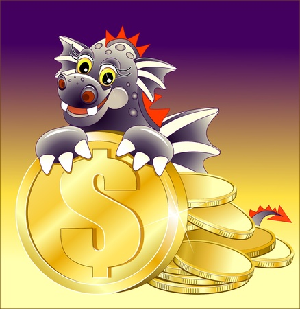 Black dragon illustration of Cute Cartoon with golden coin Vector