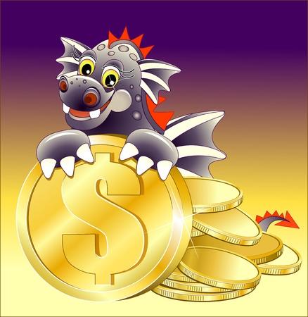 Dragón Negro ilustración de dibujos animados lindo con la moneda de oro Foto de archivo - 12422963