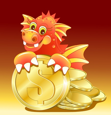 dragon head: Red dragon illustration of Cute Cartoon with golden coin