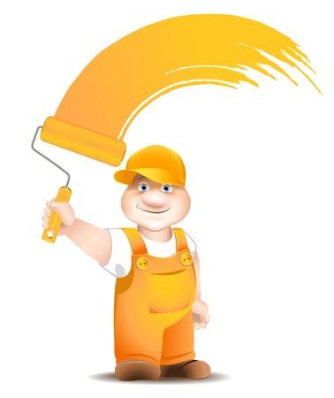 pintor de casas: trabajador de la historieta con la superficie del rodillo colorantes