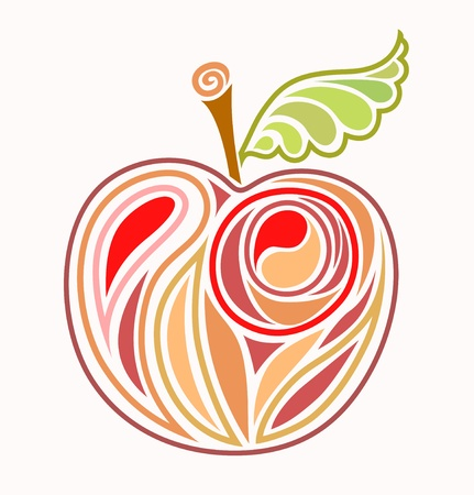 apple cartoon: drawing red apple with green sheet - sketch