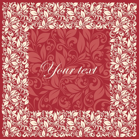 square frame from floral pattern in vintage style Stock Vector - 12423130