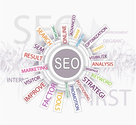 Words in a wordcloud related to SEO - search optimization concept Vector