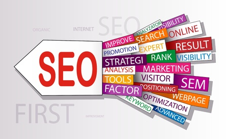 optimized: Words in a wordcloud related to SEO - search optimization concept Illustration