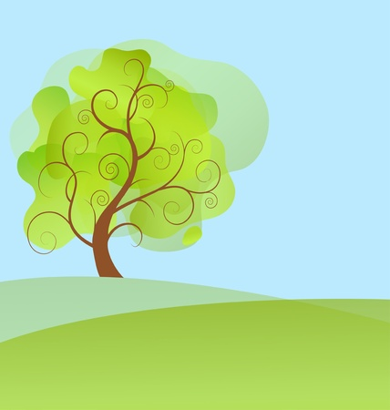 abstract background spring tree with green leaves  Vector