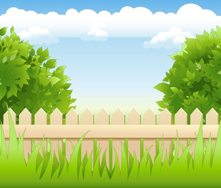 summer garden with tree light railing Vector