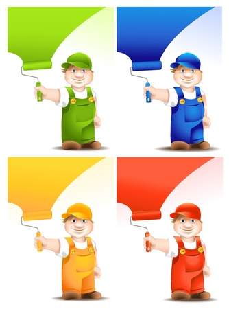 worker cartoon with platen dyes surface - set Vectores