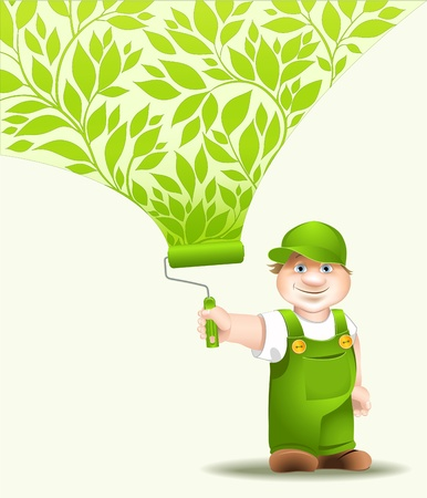 worker cartoon with platen dyes surface pattern floral Vector