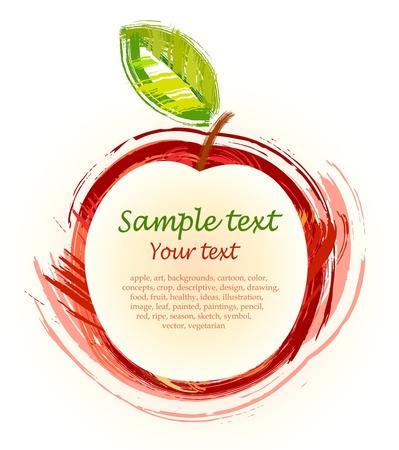 leíró szín: rajz, piros alma, zöld lap - vázlat