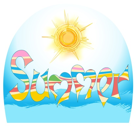 word summer in style graphites, with stylized sun and by sea