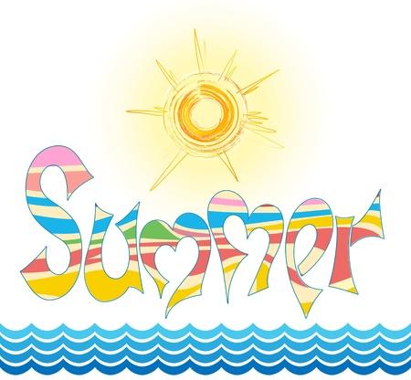estate parola in grafite di stile, con il sole stilizzato e via mare