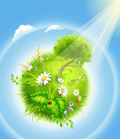 clouds: garden: cartoon blossoming globe with a green tree and grass