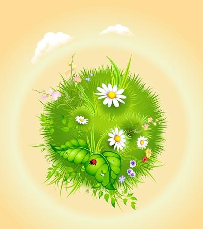 꽃이 만발한: cartoon blossoming globe with a green tree and grass