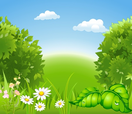 garden design: cartoon blossoming nature with a green tree and grass