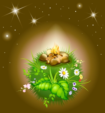 cartoon blossoming night globe with star and campfire Vector