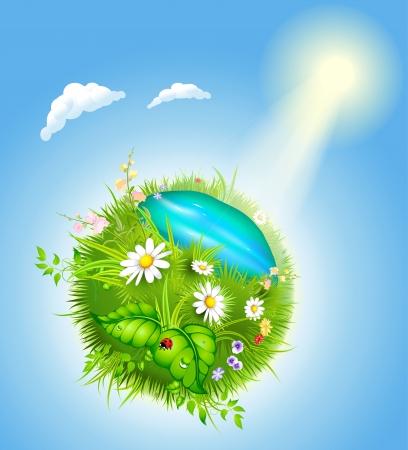 꽃이 만발한: 녹색 잔디와 푸른 호수와 만화 꽃이 만발한 세계 일러스트
