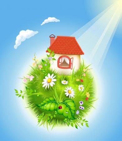 Cartoon-Haus mit rotem Dach auf blühende Welt