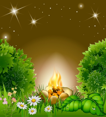 cartoon blossoming night landscape with star and campfire