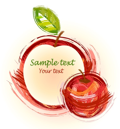 drawing red apple with green sheet - sketch Vector
