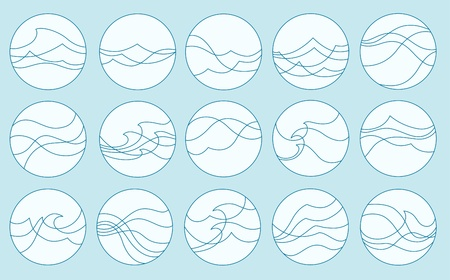 aqueous: impostare delle onde stilizzate in cornice rotonda Vettoriali