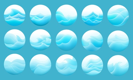 set of the stylized waves in round frame Stock Vector - 13233368