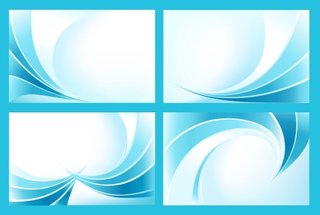 aqueous: set of the stylized waves on blue background Illustration