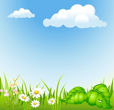 summer background with cloud and blossoming meadow Vector