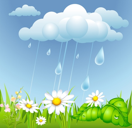 cartoon summer: summer background with rain, cloud and flowering meadow
