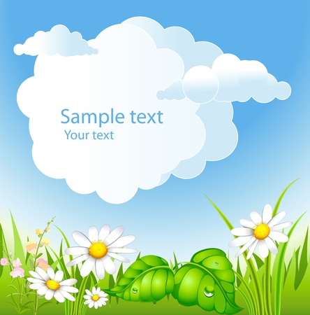 flowerses: summer background with and blossoming meadow Illustration