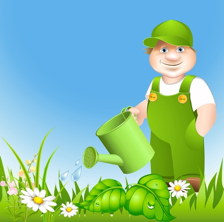 sprinkling: cartoon gardener waters from sprinkling meadow with flowerses