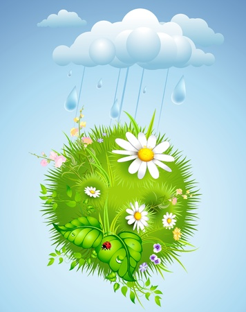 flowerses: summer background with rain, cloud and flowering meadow