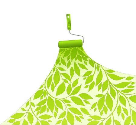 platen dyes surface green pattern floral Vectores
